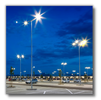 Large Parking Lot Illuminated at Night