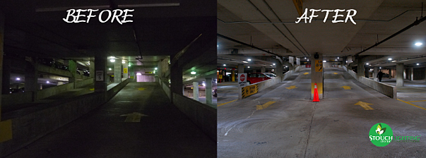 Before After Photo LED Parking Garage Retrofit