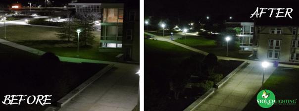 Before After LED Parking Lot Retrofit at Neumann University