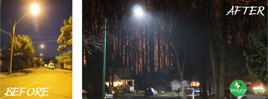 Before and After Street Lighting  in Aston Township Pennsylvania