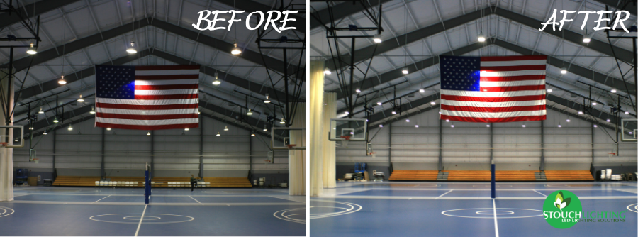 Gym Before After Upper Chichester Lighting Retrofit