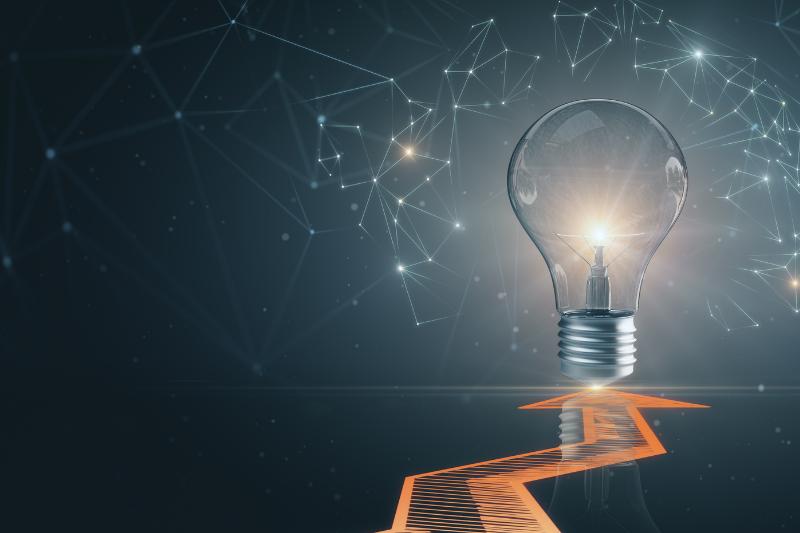 Header Size Light Bulb Technology Background