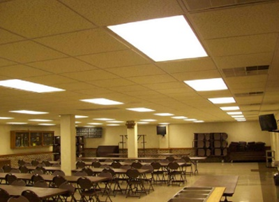 Fluorescent Troffer Lighting in Cafeteria