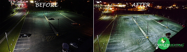 Before After LED Parking Lot Lighting Retrofit From Stouch Lighting