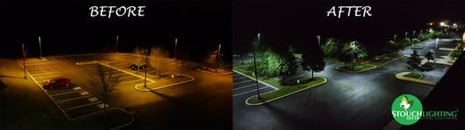 Before After LED Retrofit for Parking Lot