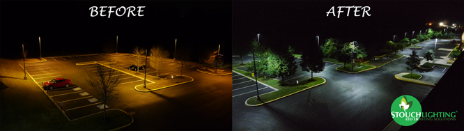 PA parking lot LED conversion before and after
