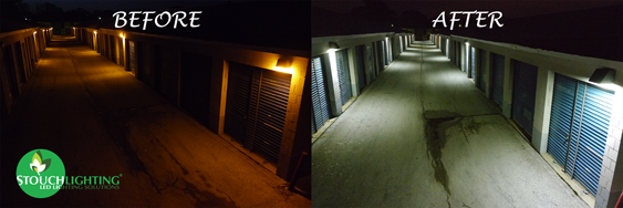 Before and after PA storage facility LED lighting conversion