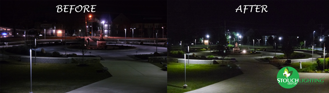 Before and after LED conversion for PA university campus lighting