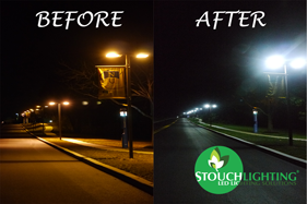 Before and after PA University street lighting LED retrofit