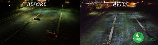 NJ parking lot LED retrofit before and after