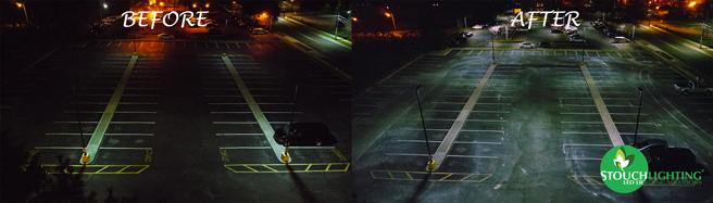 Before After Exterior LED Lighting Retrofit Parking Lot