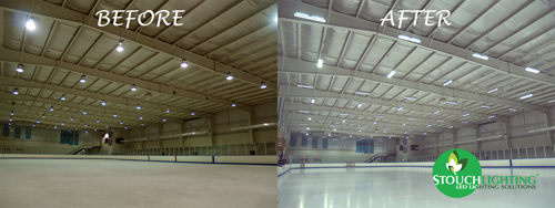 PA Iceline Hockey rink before and after LED retrofit