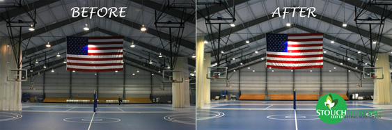PA Gymnasium before and after LED conversion