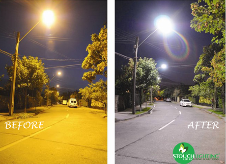 Before and After PA Municipal Street Lighting Retrofit With LED lights