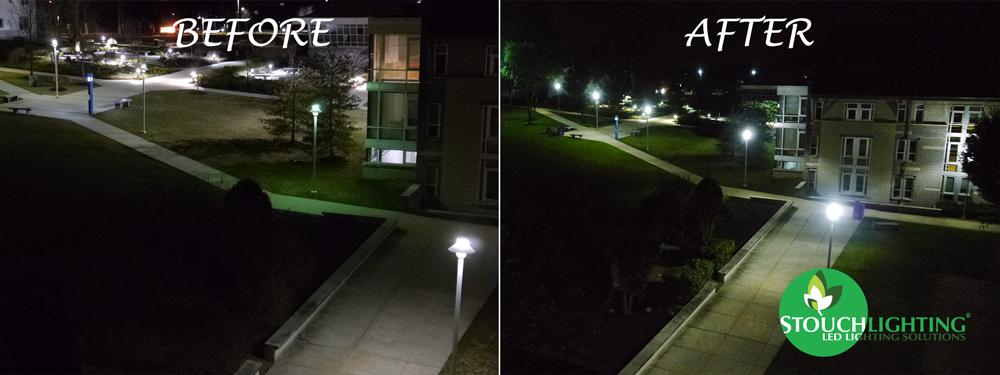 Neumann University college quad walkway Lighting conversion to LED lights