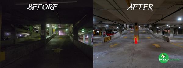 Before After Parking Lot LED Retrofit
