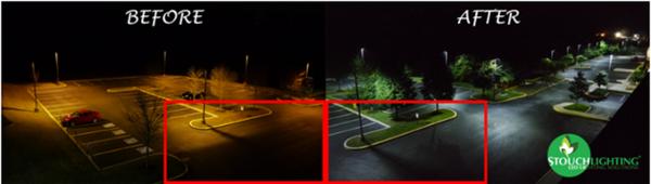 Before After LED Retroft Neumann University Parking Lot Campus