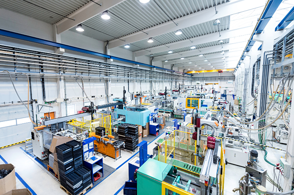 LED High Bay Lighting in Industrial Factory Setting
