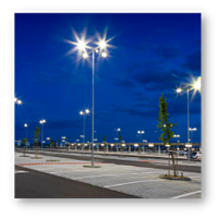 Parking Lot Illuminated at Night