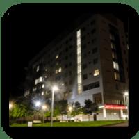 Post Top Lighting Exterior of Hospital