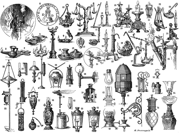 History of Lighting Fixtures Illustration