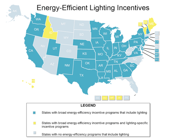 Energy Efficiency Incentives For Lighting By State in the United States