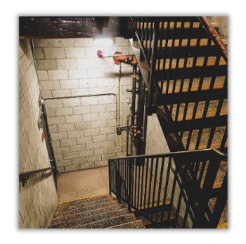 Industrial Stairwell Illuminated for Safety