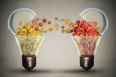 Idea exchange concept. Ideas agreement Investing in business innovation and financial commerce backing of creativity. Open lightbulb icon with gear mechanisms. Funding potential innovative growth-1