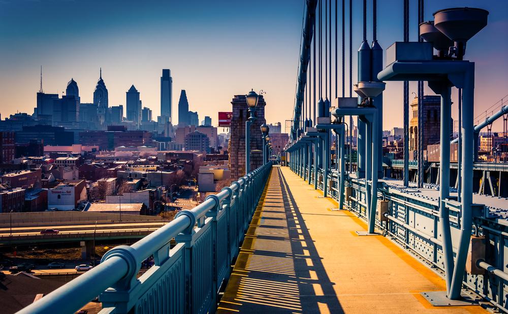The Ben Franklin Bridge Walkway and skyline, in Philadelphia, Pennsylvania.-1