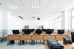 University Classroom with Troffer Ceiling Lights