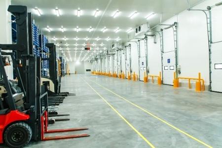 Warehouse Freezer Illuminated with LED Lighting