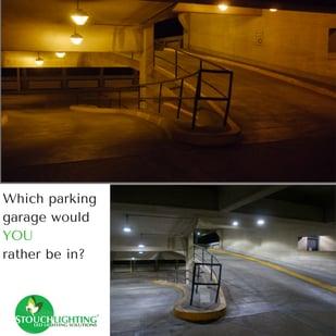Parking Garage LED Lights Before and After