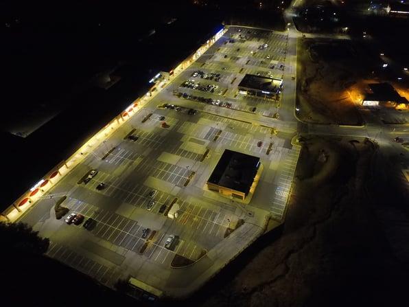 Shopping center parking lot led lighting retrofit after