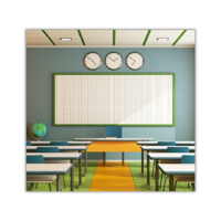 Classroom with LED lights