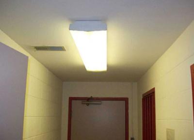 Fluorescent Recessed Lighting in Commercial Hallway