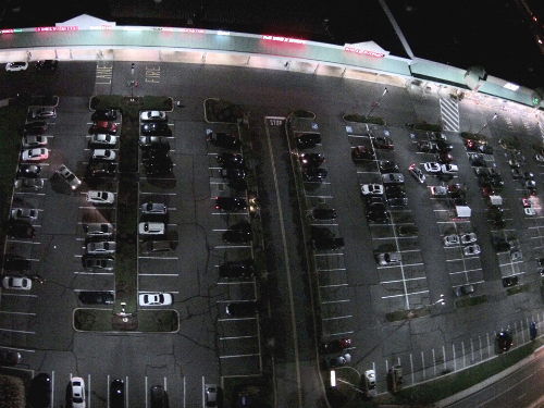 RJ Waters Parking Lot LED Retrofit After Photo Aerial
