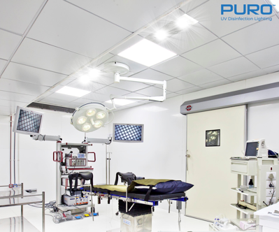 UV-C Light Ceiling and Wall Fixture in Operating Room