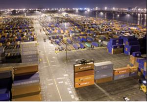 High Mast Lighting Illuminating Shipping Dock