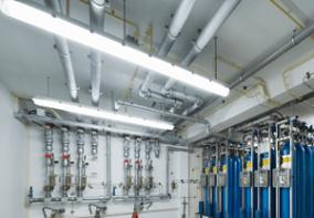 Vapor Tight Lighting Fixture in Industrial Space