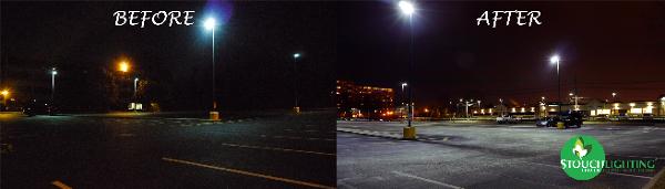 Office Center Parking Lot in Pennsauken NJ Before and After LED Lights