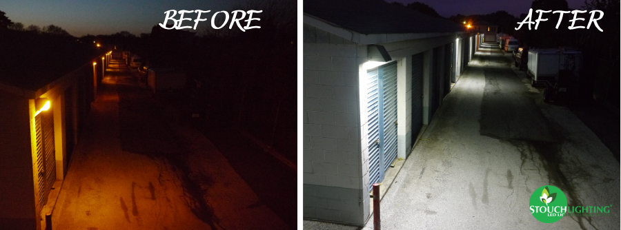 Before and After Exterior Storage LED Lighting Conversion